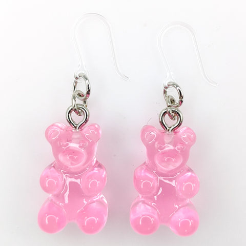Gummy Bear Drop Earrings (Dangles) - pink