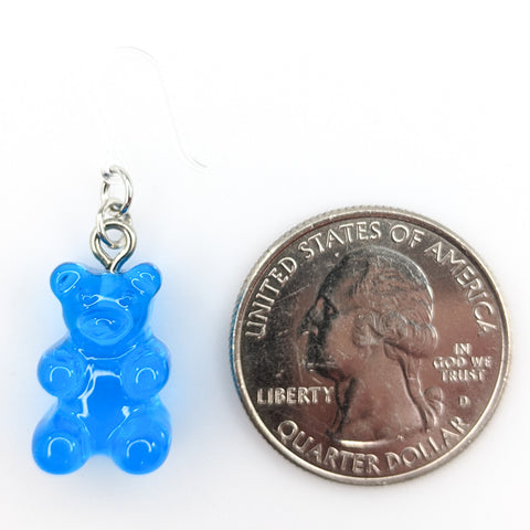 Gummy Bear Drop Earrings (Dangles) - size comparison quarter