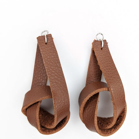 Faux Leather Knot Earrings (Dangles) - brown