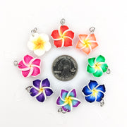 Plumeria Earrings & Necklace (Dangles)  - size comparison quarter
