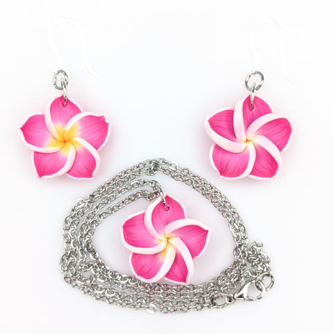Plumeria Earrings & Necklace (Dangles)