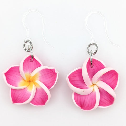 Plumeria Earrings & Necklace (Dangles)  - pink