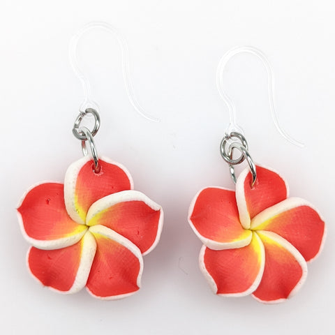 Plumeria Earrings & Necklace (Dangles)  - red