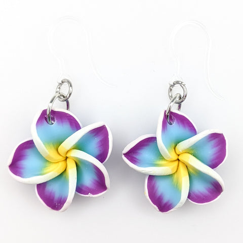 Plumeria Earrings & Necklace (Dangles)  - blue/purple