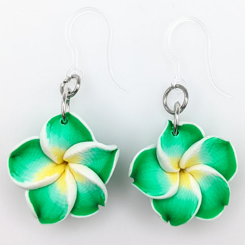 Plumeria Earrings & Necklace (Dangles)  - green