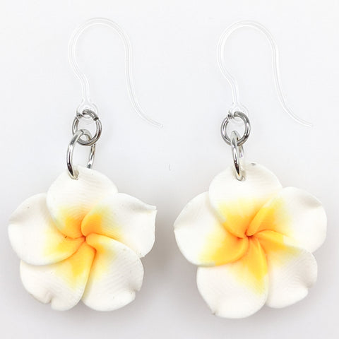 Plumeria Earrings & Necklace (Dangles)  - white