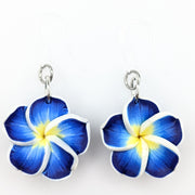 Plumeria Earrings & Necklace (Dangles)  - blue