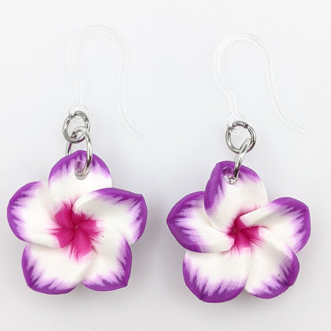 Plumeria Earrings & Necklace (Dangles)  - purple/white