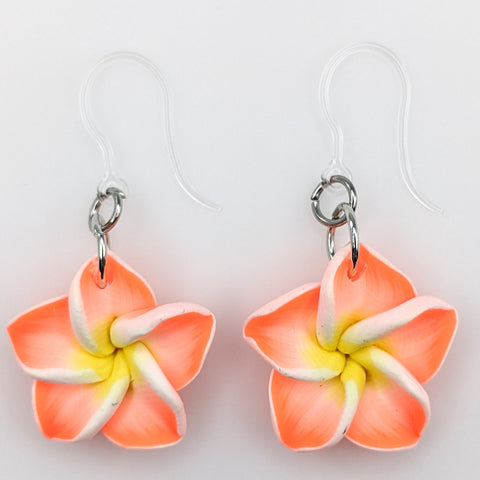 Plumeria Earrings & Necklace (Dangles)  - orange