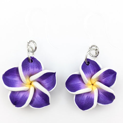 Plumeria Earrings & Necklace (Dangles)  - purple
