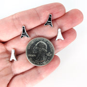 Monochrome Eiffel Tower Earrings (Studs) - size comparison quarter & hand