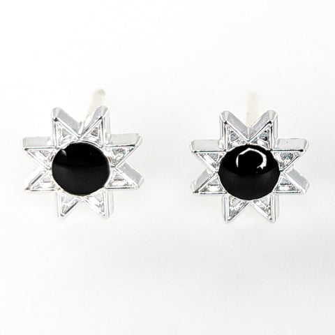 Monochrome Sun Earrings (Studs) - black
