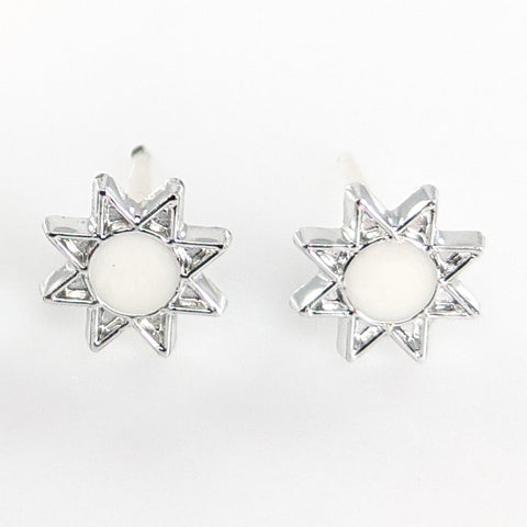 Monochrome Sun Earrings (Studs) - white