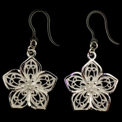 Silver Decorative Flower Earrings (Dangles) - silver