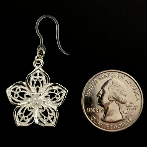Silver Decorative Flower Earrings (Dangles) - size comparison quarter