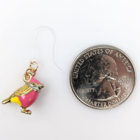 Colorful Bird Earrings (Dangles) - size comparison quarter