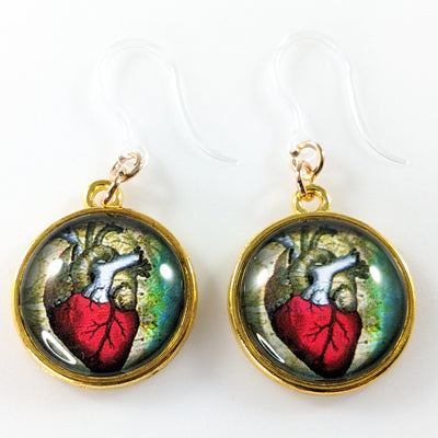 Glass Anatomical Heart Earrings (Dangles)