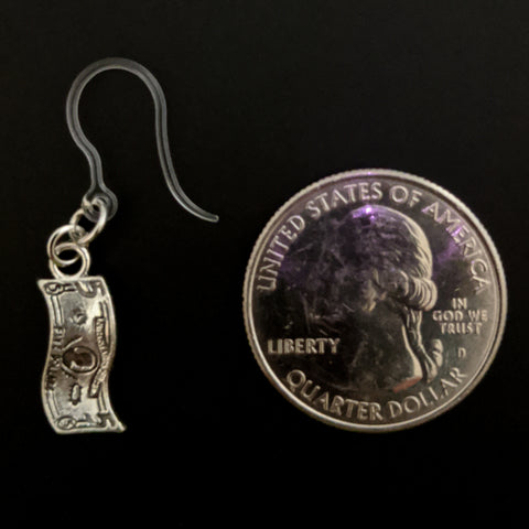 Dollar Bill Earrings (Dangles) - size comparison quarter