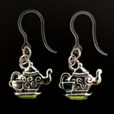Teapot Earrings (Dangles) - silver