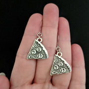 Silver Pizza Earrings (Dangles) - size comparison hand