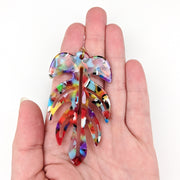 Celluloid Leaf Earrings (Dangles) - size comparison hand