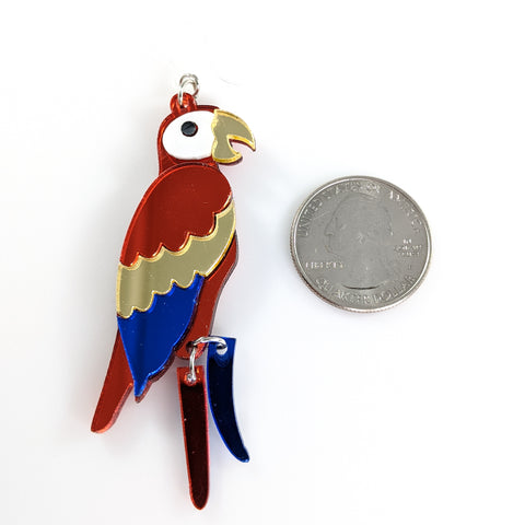 Exaggerated Parrot Earrings (Dangles) - size comparison quarter