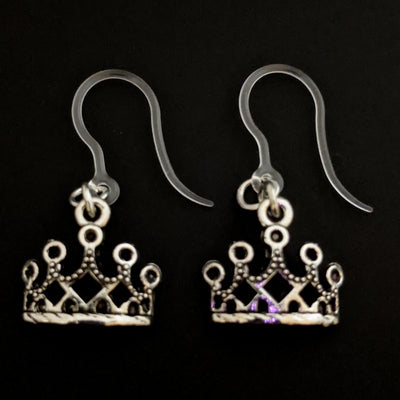 Silver Crown Earrings (Dangles) - silver