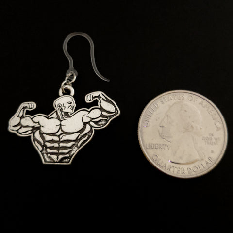 Muscle Earrings (Dangles) - size comparison quarter