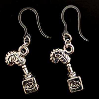 Quill Pen & Ink Bottle Earrings (Dangles) - silver
