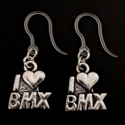 I Love BMX Earrings (Dangles)