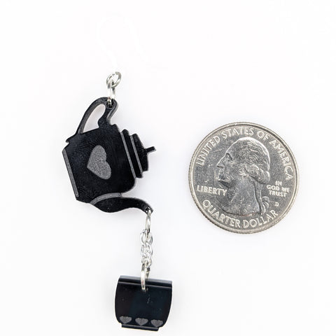 Exaggerated Tea Earrings (Dangles) - size comparison quarter