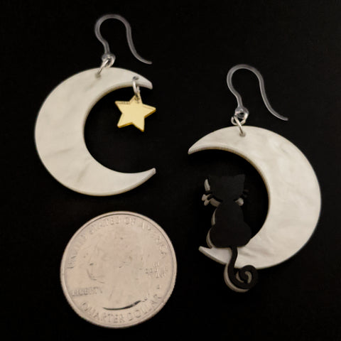 Exaggerated Moon Cat Earrings (Dangles) - size comparison quarter