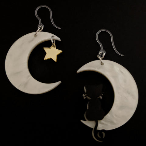 Exaggerated Moon Cat Earrings (Dangles)