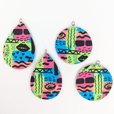 Double-Sided Abstract Art Earrings (Teardrop Dangles) - all styles