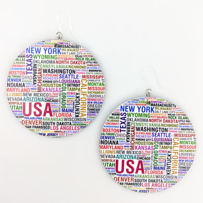 Exaggerated Wooden City State Earrings (Dangles) - multi colored