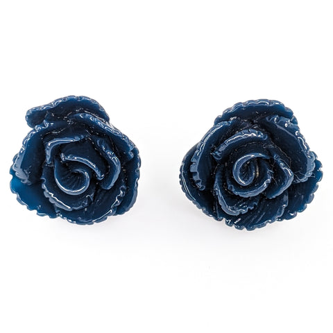 Vintage Rose Earrings (Studs) - navy