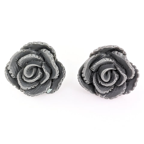 Vintage Rose Earrings (Studs) - gray