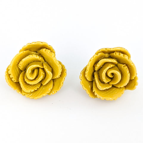 Vintage Rose Earrings (Studs) - goldenrod
