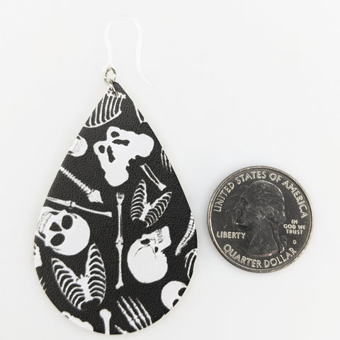 Skeleton Bones Earrings (Teardrop Dangles) - size comparison quarter