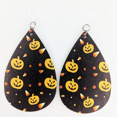 Candy Corn Jack-o'-Lantern Earrings (Teardrop Dangles)