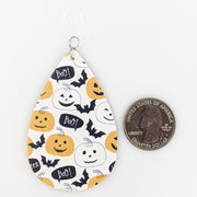 Boo Pumpkin Bat Earrings (Teardrop Dangles) - size comparison quarter