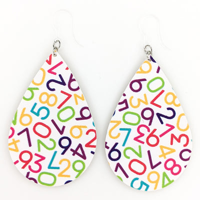 Number Earrings (Teardrop Dangles)