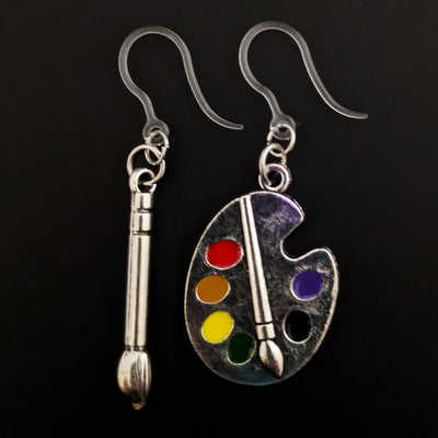 Silver Paint Brush & Palette Earrings (Dangles)