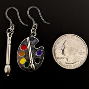 Silver Paint Brush & Palette Earrings (Dangles) - size comparison quarter
