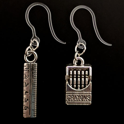Crayon & Ruler Earrings (Dangles)