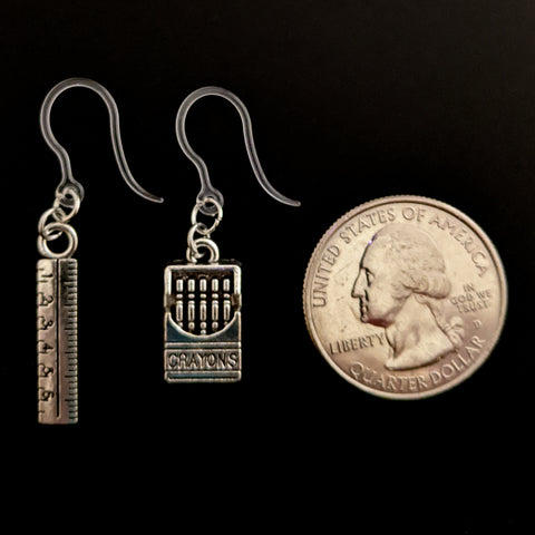 Crayon & Ruler Earrings (Dangles) - size comparison quarter