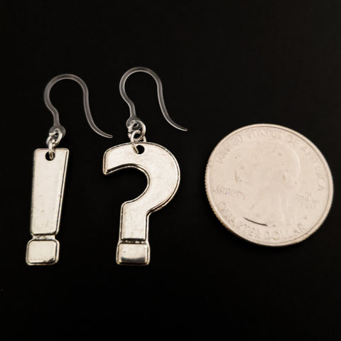 Silver Punctuation Earrings (Dangles) - size comparison quarter