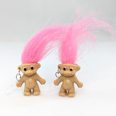Troll Earrings (Dangles) - pink hair