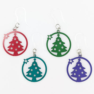 Star Christmas Tree Earrings (Dangles) - all colors