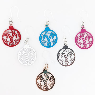 Candy Cane Ornament Earrings (Dangles) - all colors